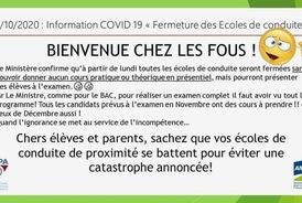 Information COVID 19 : fermeture des écoles de conduite